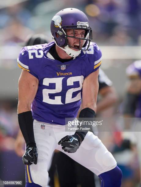 Harrison Smith of the Minnesota Vikings celebrates recovering a fumble against the San Francisco 49ers during the game on September 9 2018 at US Bank...