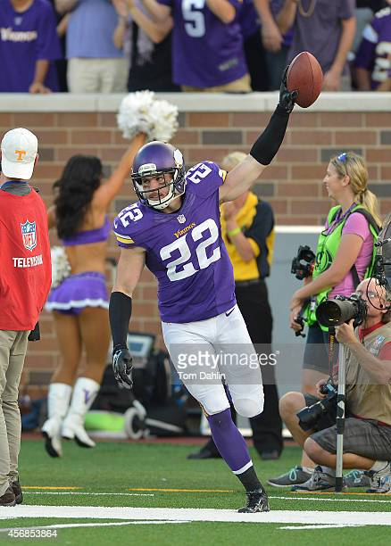 Harrison Smith of the Minnesota Vikings celebratesl during an NFL game against the Atlanta Falcons at TCF Bank Stadium on September 28 2014 in...