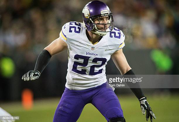 Harrison Smith of the Minnesota Vikings eyes the offense during an NFL game against the Green Bay Packers at Lambeau Field January 3 2016 in Green...