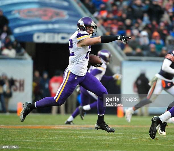 Harrison Smith of the Minnesota Vikings intercepts a pass against the Chicago Bears during the third quarter on November 16 2014 at Soldier Field in...