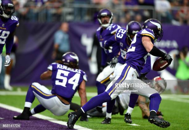 Harrison Smith of the Minnesota Vikings intercepts a pass intended for Mike Evans of the Tampa Bay Buccaneers of the game on September 24 2017 at US...