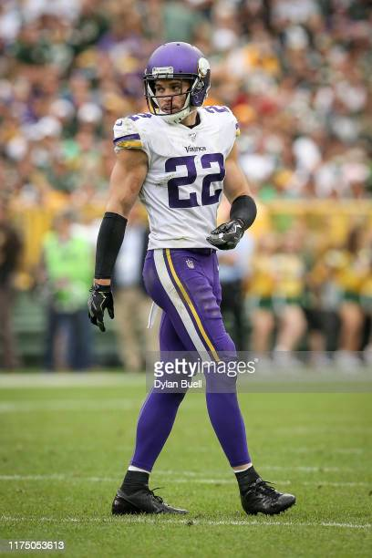 Harrison Smith of the Minnesota Vikings lines up for a play in the third quarter against the Green Bay Packers at Lambeau Field on September 15 2019...
