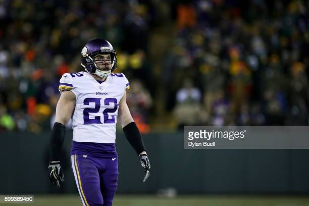 Harrison Smith of the Minnesota Vikings lines up for a play in the third quarter against the Green Bay Packers at Lambeau Field on December 23 2017...