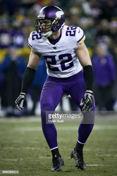 Harrison Smith of the Minnesota Vikings lines up for a play in the fourth quarter against the Green Bay Packers at Lambeau Field on December 23 2017...