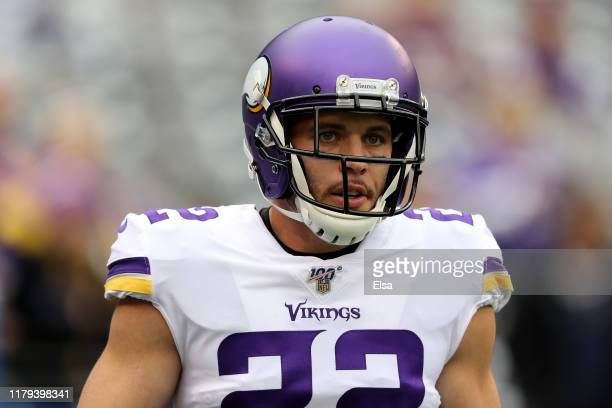 Harrison Smith of the Minnesota Vikings looks on prior to the game against the New York Giants at MetLife Stadium on October 06 2019 in East...