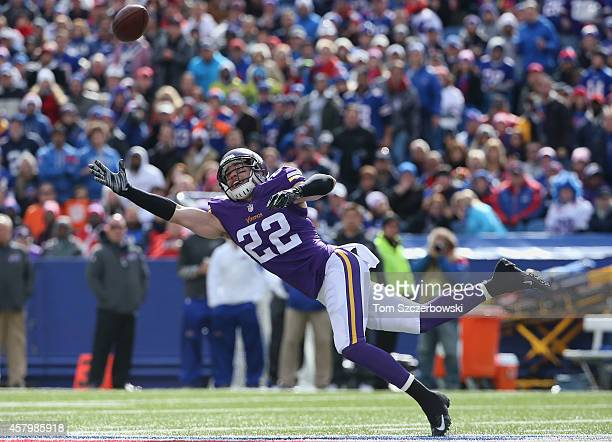 Harrison Smith of the Minnesota Vikings nearly intercepts a pass just out of his reach during NFL game action against the Buffalo Bills at Ralph...