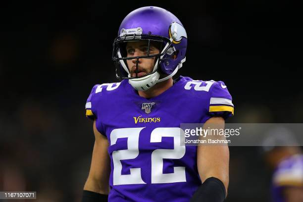 Harrison Smith of the Minnesota Vikings reacts during the first half against the New Orleans Saints of a preseason game at the Mercedes Benz...