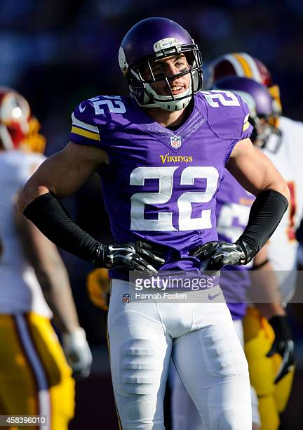 Harrison Smith of the Minnesota Vikings reacts to a call during the game against the Washington Redskins on November 2 2014 at TCF Bank Stadium in...