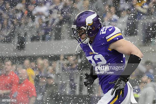 Harrison Smith of the Minnesota Vikings runs onto the field before the game against the Chicago Bears on January 1 2017 at US Bank Stadium in...