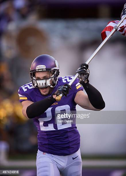 Harrison Smith of the Minnesota Vikings runs onto the field during an NFL game against the St Louis Rams at TCF Bank Stadium November 8 2015 in...