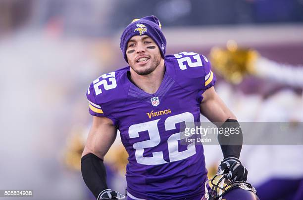 Harrison Smith of the Minnesota Vikings runs onto the field during an NFL game against the Seattle Seahawks at TCF Bank Stadium January 10 2016 in...