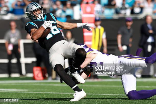 Harrison Smith of the Minnesota Vikings tackles Brandon Zylstra of the Carolina Panthers after his catch during the fourth quarter at Bank of America...