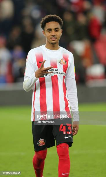 Harrison Sohna of Sunderland during the Papa John's Trophy match between Sunderland and Manchester United at Stadium of Light on October 13, 2021 in...