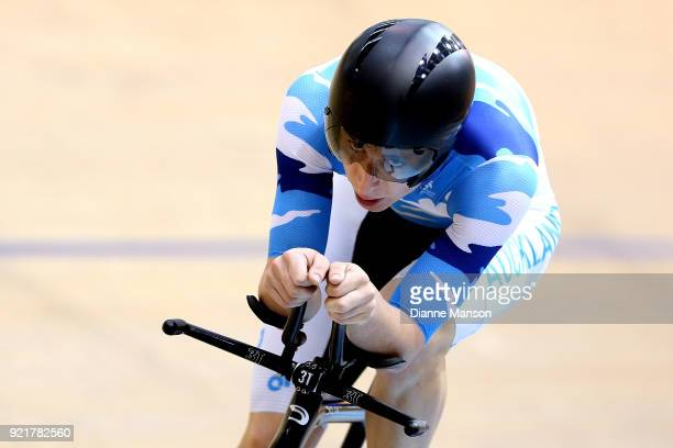 Harrison Waine of Auckland competes in the Elite Men 4000m Individual Pursuit during the New Zealand Track Cycling Championships on February 21 2018...