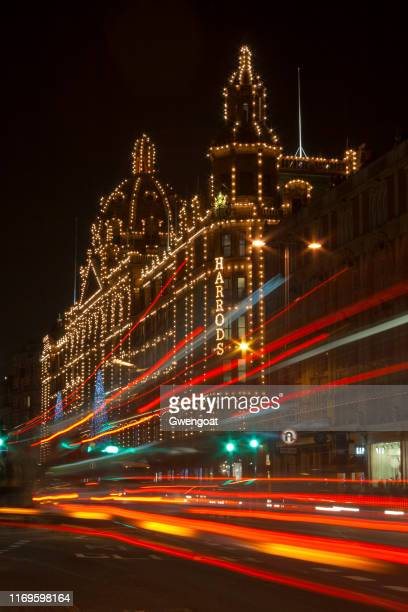 harrods by night in london - gwengoat stock pictures, royalty-free photos & images