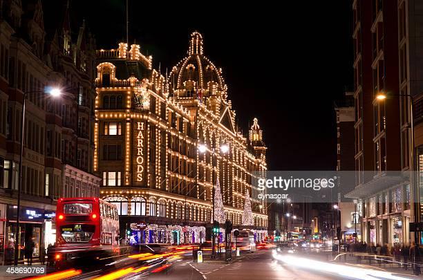 Harrods department store at night, Knightsbridge, London