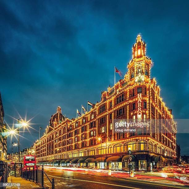 Harrods department store in Knightsbridge at dusk