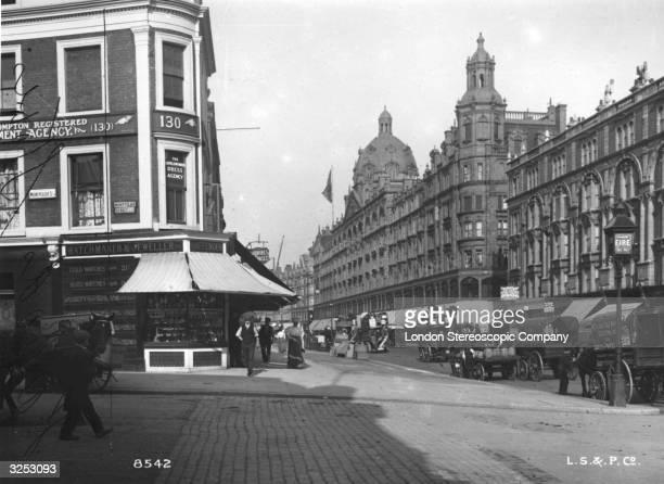Harrods department store on Knightsbridge London from Montpelier Street
