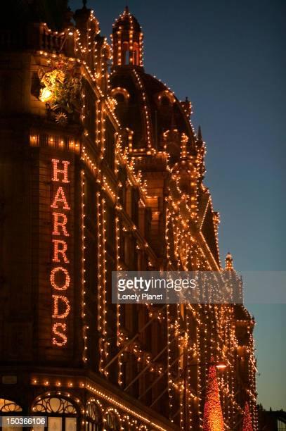 Harrods, Knightsbridge, at night.