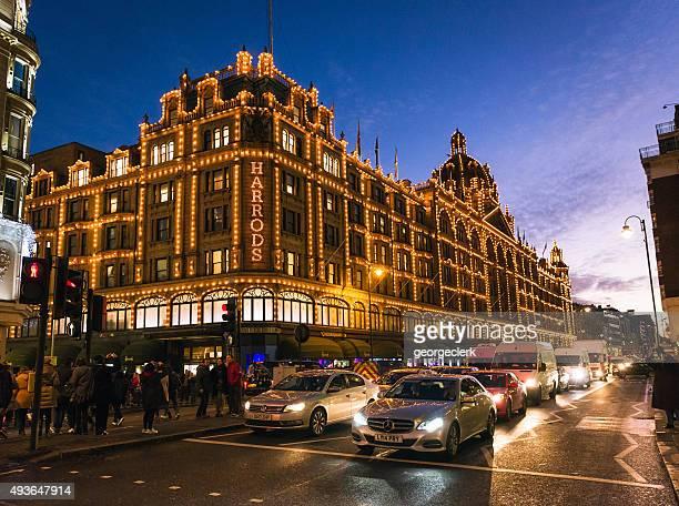 Harrods of London, illuminated at night