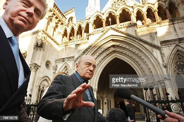 Harrods owner Mohamed Al Fayed arrives at the High Court with his spokesman Michael Cole on February 18 2008 in london Mr Al Fayed who's son Dodi was...