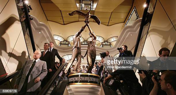Harrods owner Mohamed Al Fayed attends the unveiling of a statue of Diana Princess of Wales and his son Dodi Al Fayed at Harrods department store on...