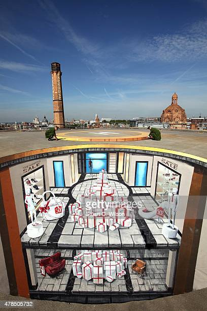 Harrods unveils a giant 3D illusion artwork to launch the annual Harrods Summer Sale at Harrods on June 25 2015 in London England