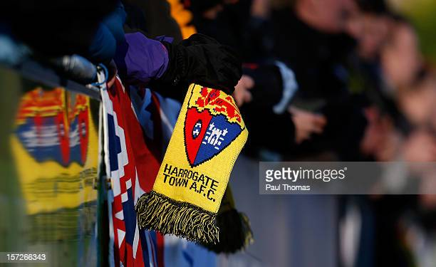 Harrogate fan holds a scarf during the FA Cup second round match between Harrogate Town and Hastings United at the CNG Stadium on December 1, 2012 in...