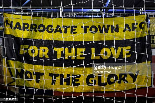 Harrogate Town flag is seen ahead of the FA Cup First Round match between Harrogate Town A.F.C and Portsmouth FC at CNG Stadium on November 11, 2019...
