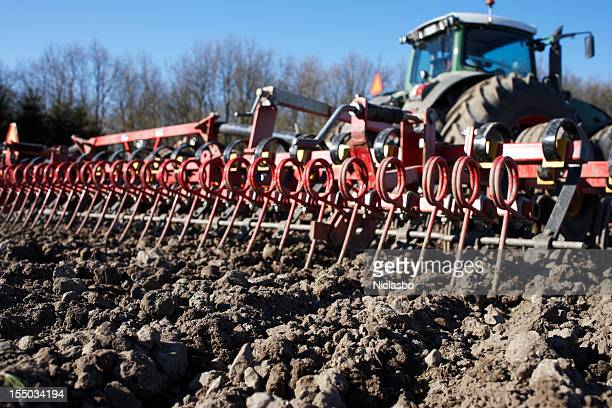 harrow and tractor - tiller stock photos and pictures