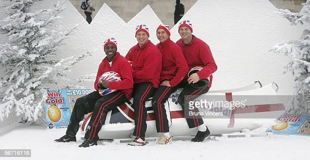 Harry Aikines Ayreetey Martin Wright Jonathan Edwards and Sir Steve Redgrave pose at the launch of the new Lottery scratchcard on February 1 2006 in...