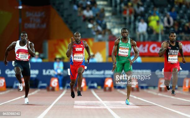 Harry AikinesAryeetey of England Kemar Hyman of the Cayman Islands Seye Ogunlewe of Nigeria and Keston Bledman of Trinidad and Tobago compete in the...