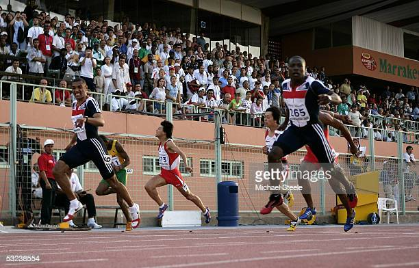 Harry AikinesAryeetey of Great Britain clinches gold from his team mate Alex Nelson in the boys 100m final during the IAAF World Youth Championships...