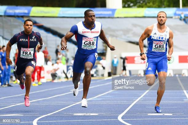 Harry AikinesAryeetey of Great Britain wins in the Men's 100m Final during day two of the European Athletics Team Championships at the Lille...