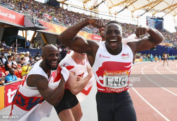 Harry Aikines-Aryeetey, Reuben Arthur, Zharnel Hughes and Richard Kilty of England celebrate as they win gold in the Men's 4x100 metres relay final...