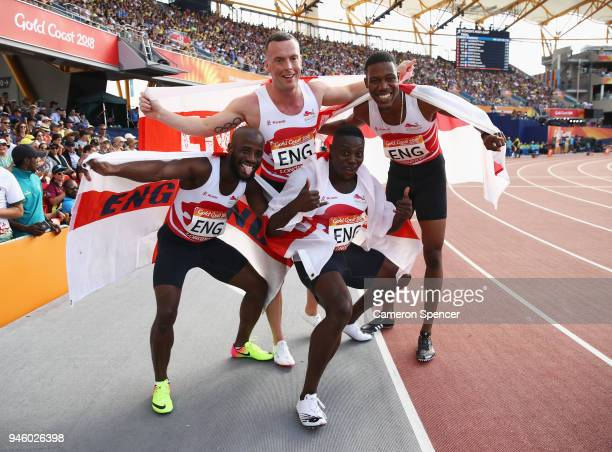 Harry AikinesAryeetey Reuben Arthur Zharnel Hughes and Richard Kilty of England celebrate as they win gold in the Men's 4x100 metres relay final...