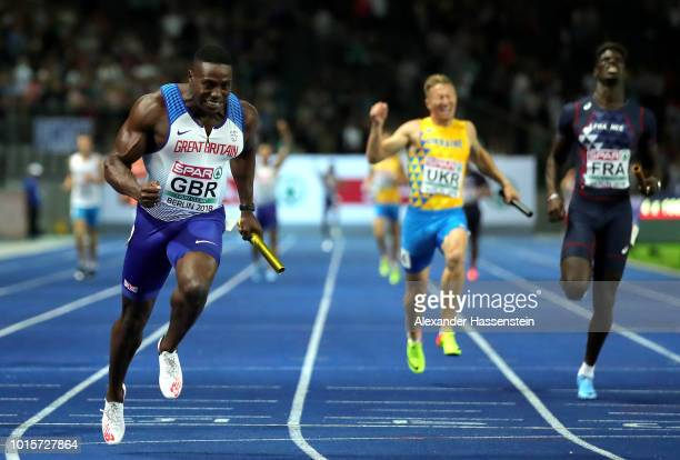 Harry Aiknes-Aryeetey of Great Britain celebrates winning the gold medal in the Men's 4 x 100m Relay Final during day six of the 24th European...