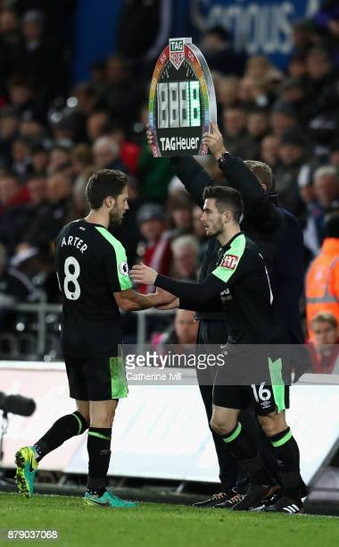 Harry Arter is substituted for Lewis Cook of AFC Bournemouth during the Premier League match between Swansea City and AFC Bournemouth at Liberty...