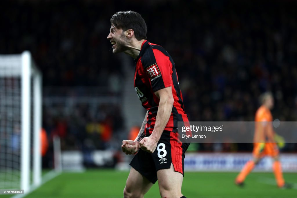 Harry Arter of AFC Bournemouth celebrates scoring his side's third goal during the Premier League match between AFC Bournemouth and Huddersfield Town at Vitality Stadium on November 18, 2017 in Bournemouth, England.