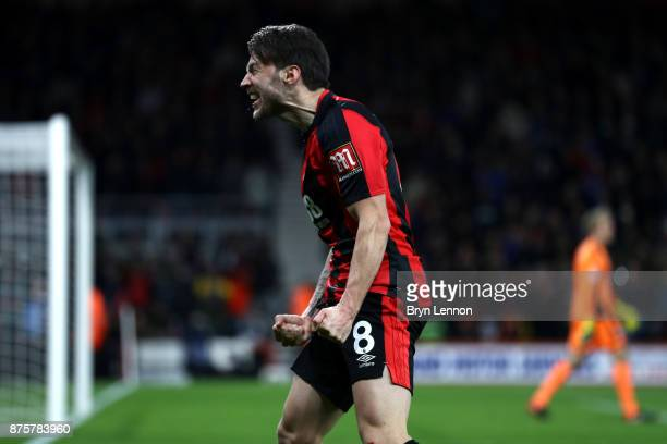 Harry Arter of AFC Bournemouth celebrates scoring his side's third goal during the Premier League match between AFC Bournemouth and Huddersfield Town...