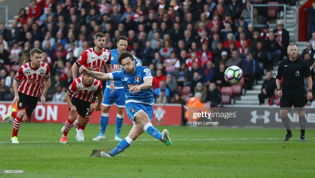 Harry Arter of AFC Bournemouth misses a penalty during the Premier League match between Southampton and AFC Bournemouth at St Mary's Stadium on April 1, 2017 in Southampton, England.