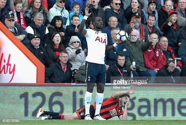 Harry Arter of AFC Bournemouth reacts to being elbowed by Moussa Sissoko of Tottenham Hotspur during the Premier League match between AFC Bournemouth...