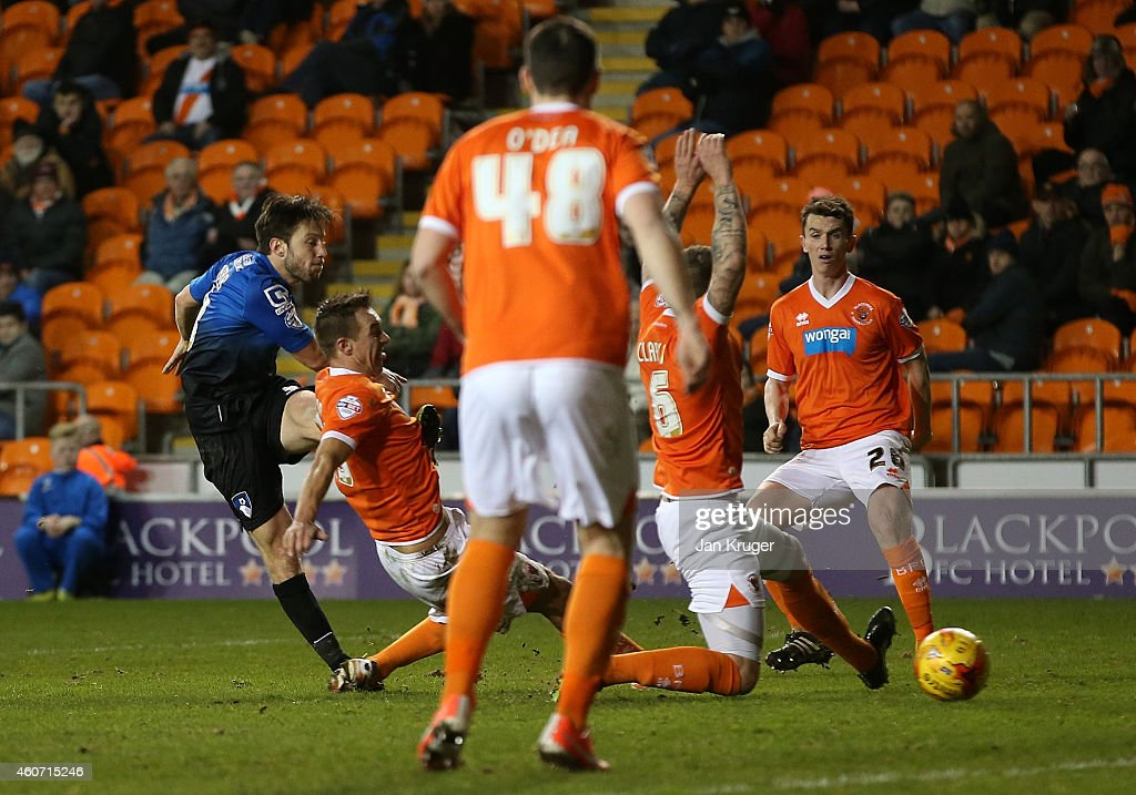 Harry Arter of AFC Bournemouth scores during the Sky Bet Championship match between Blackpool and Bournemouth at Bloomfield Road on December 20, 2014 in Blackpool, England.