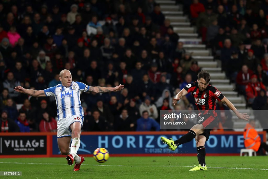Harry Arter of AFC Bournemouth scores his side's third goal during the Premier League match between AFC Bournemouth and Huddersfield Town at Vitality Stadium on November 18, 2017 in Bournemouth, England.