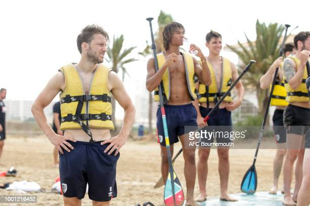 Harry Arter of Bournemouth during preseason teambuilding exercise involving paddle boards on July 18 2018 in La Manga Spain