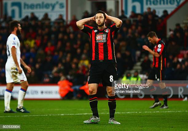 Harry Arter of Bournemouth reacts during the Barclays Premier League match between AFC Bournemouth and Crystal Palace at Vitality Stadium on December...
