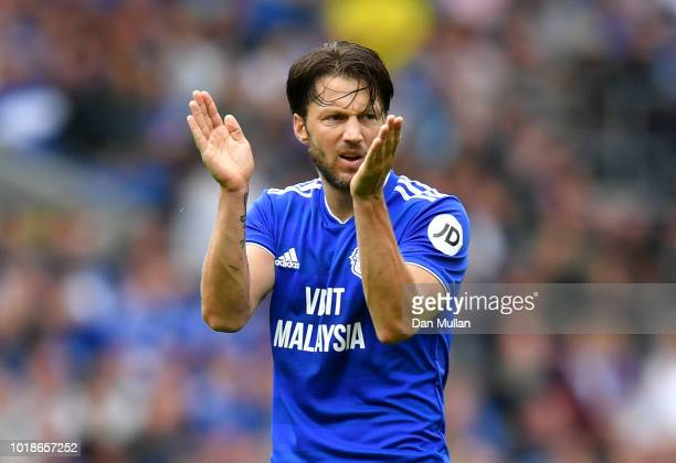 Harry Arter of Cardiff City reacts during the Premier League match between Cardiff City and Newcastle United at Cardiff City Stadium on August 18...