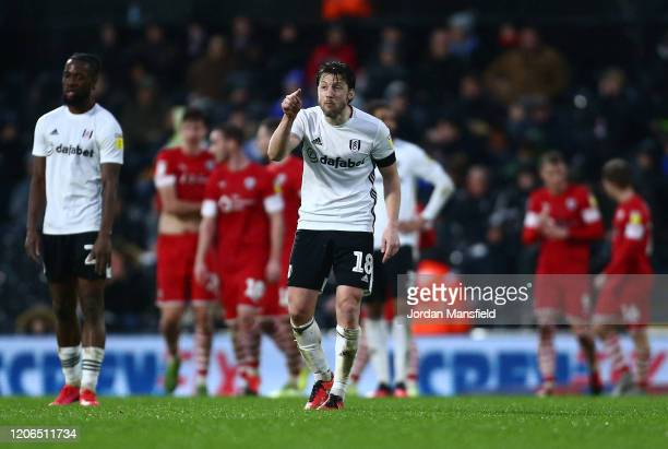Harry Arter of Fulham recats after they concede their third goal during the Sky Bet Championship match between Fulham and Barnsley at Craven Cottage...