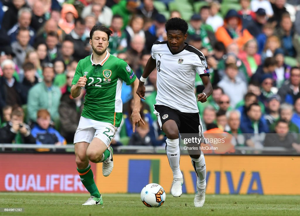 Harry Arter (L) of Republic of Ireland and David Alaba (R) of Austria during the FIFA 2018 World Cup Qualifier between Republic of Ireland and Austria at Aviva Stadium on June 11, 2017 in Dublin.