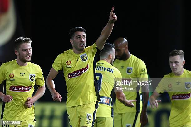 Harry Ascroft of the Mariners celebrates a goal during the round eight ALeague match between the Central Coast Mariners and the Perth Glory at...